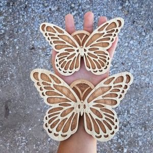 Vintage Wood Butterfly Set Of 2 Wall Decor
